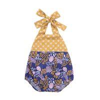 Wholesale Jumpsuits Flowers - Baby Girls Flower Rompers Bow Bandage Backless Elastic Dandelion Flora Printed Patchwork Vest Jumpsuits Infant Toddler Clothing 6M-3T