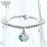 ingrosso bracciali in rilievo verde rosa-FYSARA Brand Luxury ETERNAL LOVE Bracciali Double Heart Balls Beaded Bracelet For Women Bracciale con ciondoli rosa verdi
