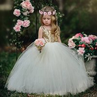 Bella ragazza oro paillettes Ball Gown Flower Girl Dress Bambini Wedding abito da damigella d'onore Prom Dress PX253