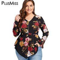 9d735c90608 PlusMiss Plus Size 5XL Zipper Floral Flower Print Blouse Shirt Women Long  Sleeve Tunic Peplum Chiffon Tops Autumn Blusas 2018