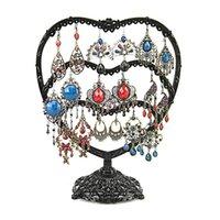 ingrosso esposizione in bronzo-58 fori nero bronzo stand per orecchini display holder a forma di cuore gioielli orecchino organizzatore cremagliera regalo per fidanzata moglie madre