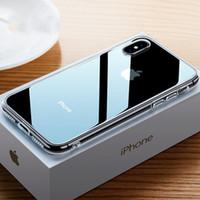 ingrosso telaio paraurti posteriore-Per iPhone X 8 10 7 plus TPU Frame Bumper Custodia in vetro trasparente Luxury 9H Durezza Vetro temperato Custodia per cellulare lucida Cover posteriore antiurto