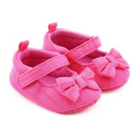 polka dot flowers wholesale UK - Born Baby Girl Shoes Princess Polka Dots With Flowers Soft Cotton Toddler Crib Infant Little Kid Sole Anti-slip First Walker