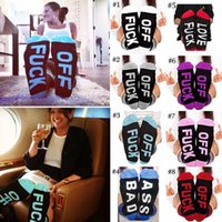 Wholesale women ankle socks - Socks Women Men's Fuck-off Funny Sock Casual Sports Cotton Long Soft Socks English Letter Cotton Socks Novelty Funny Print Stockings BBA122