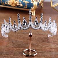 ingrosso monili barocco alto-New Baroque Retro High-End Bridal Crown Wedding Party Jewelry Boutique Tiara Accessorio da sposa in cristallo fatto a mano