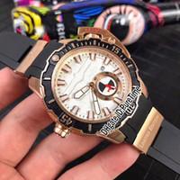 estilo marino al por mayor-2018 Nuevo estilo Maxi Marine Diver 3203-500LE-3/93-HAMMER Rose Gold Black Dial Automático Reloj para hombre Big Crown Relojes deportivos Blanco Caucho B1e5
