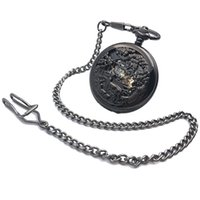 Wholesale watch animals for sale - Group buy CAIFU Brand Skeleton Steampunk Animal Case Roman Number Dial Hand Wind Mens Mechanical Pocket Watch w Chain Half Hunter Watch