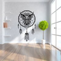 Wholesale pvc removable art murals for sale - Children Room Background Wall Stickers Black Owl Feather Dream Catcher Kids Removable Wallpaper Home Decor Mural Decoration Art aw Ww