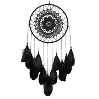 Wholesale white craft feathers - Handmade Lace Dream Catcher Circular With Feathers Hanging Decoration Ornament Craft Gift Crocheted White Dreamcatcher Wind Chimes GA122