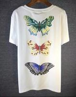 Wholesale Girls Butterfly Shirt - Simple Letter Printed Butterfly T-shirt Embroidery Paris T Shirt Short Sleeve Girl graffiti t shirt Street Style Tops Tee women Shirt