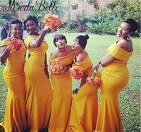 ingrosso vestito di damigella d'onore giallo increspato-2018 Mermaid Long Abiti da damigella d'onore Bateau Neck Nigeria Giallo increspato Sweep Train Plus Size abiti da sera lunghi Vestidos