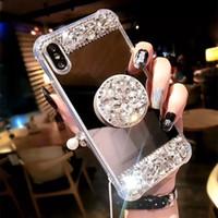 ingrosso bling kickstand-Per iPhone X 8 7 6 6S XS XR Max Plus Bling Specchietto Kickstand Custodia protettiva in TPU per iPhone 8 10152