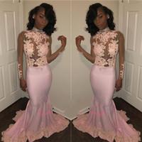 vestidos de noche rosa 12 al por mayor-Moda con cuello halter sirena vestidos de baile 2019 vestidos de noche personalizados Apliques con lentejuelas Vestidos largos de fiesta Black Girls Pink Party