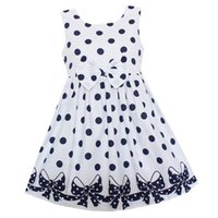 Wholesale children dresses size 14 - Shybobbi Girls Dress White Dot Print Bow Cute Dresses Party Pageant Wedding Kids Clothing For Summer Children Clothes Size 6-14
