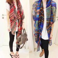 Wholesale vintage chiffon scarves resale online - Fashion Women Girl Vintage Long Soft Cotton Voile Print Scarves Shawl Wrap Scarf Stole
