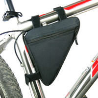 bisiklet için çanta tutacağı toptan satış-Bisiklet Bisiklet Çanta Su Geçirmez Ön Tüp Çerçeve Çanta Dağ Üçgen Bisiklet Kılıfı Tutucu Eyer Çantası Siyah