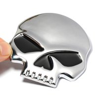 Wholesale Moto Decals - 6.8*6.7CM Size Cool 3D Metal Skull Auto Car Sticker Moto Motorcycle Sticker Emblem Badge Decal Car Styling , Easter Sunday Gift