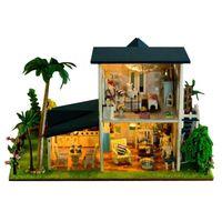 Wholesale dollhouse miniature led lights - Home Decoration Crafts DIY Doll House Wooden Dolls House 3D Miniature Model Kit dollhouse Furniture Room LED Light 13015