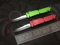 logo mic toptan satış-Otomatik bıçaklar mini bıçak otomatik bıçaklar Yüksek kaliteli 5 renkler olmadan mic bıçak logo mini Anahtar toka pocket knife alüminyum kolu