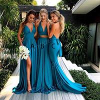 Wholesale fabulous evening gowns - 2018 Fabulous Chiffon Blue Two Piece Split V-neck Bridesmaid Dress Formal Evening Dresses Custom Made Wedding Guest Gowns