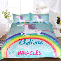 Wholesale duvet covers for kids - Unicorn Bedding Set Believe Miracles Cartoon Single Bed Duvet Cover Animal For Kids Girls 3pcs Rainbow Bedspreads