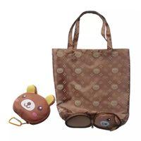 ingrosso sacchetto di piegatura dell'orso-Cartone animato Animal Shopping Bag Tote Riutilizzabile Eco Bag Panda Frog Maiale impermeabile shopping bag Borse della spesa riutilizzabili