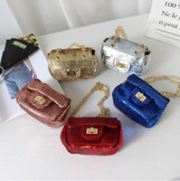Wholesale Baby Blue Purse - 6 Colors Children's Sequin Shoulder Bags New Year Messenger Bag for Toddlers Baby Girls Mini Purse Kids Christmas Gifts CCA9274 3pcs