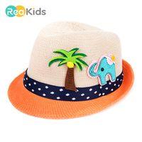 bebek yaz kovası şapkaları toptan satış-REAKIDS Bebek Kız Erkek Caz Cap Karikatür Plaj Kova Şapkalar Bebek Yaz Açık Güneş Şapka Toptan Mix 3 Adet / grup