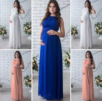 Wholesale Loose Maternity Dresses - Casual Sleeveless Off Shoulder Maternity Photography Props High Waist Pleatedd Bandage Maxi Loose Maternity Pregnancy Dress
