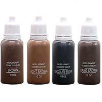 encre à sourcils brun achat en gros de-4 couleurs USA Brow Microblading Pigments Encres Dark Light Brown Pour Les Sourcils Maquillage Permanent De Base Teinture Des Sourcils Pour Le Tatouage