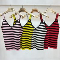 Wholesale pink slings - Italy style Party hot Hign-End Factory Wholesale four colors New V-neck Striped new fashion Vest sling