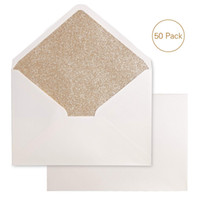 Gold Glitter A7 Envelopes, 5.25 x 7.5 inches with Adhesive Self-Sealing Tape, Perfect for 5''x7'' Weddings Invitation Graduation Invite