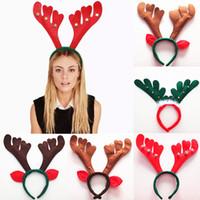 banda de pelo tejido al por mayor-Decoraciones navideñas Cornamenta navideña Bandas de pelo No tejido rojo Fiesta navideña Fiesta de cumpleaños Suministros WX9-756