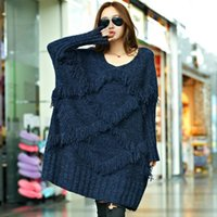 Wholesale Korean Winter Wear Women - Wholesale- 2016 Autumn and Winter The New Women In The Long Paragraph Thick Long-sleeved Wore Sweater Korean Tassel Knitted Sweater