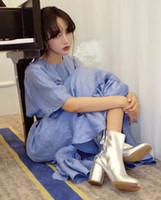 schwarze lackleder kurze stiefel großhandel-Botines mujer 2018 Chunky High Heel kurze Stiefeletten für Frau eckig schwarz Lackleder Regenstiefel Luxus Tabi Bottes