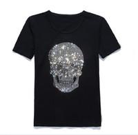 neuheit schädel hemden für männer großhandel-Schädel Gedruckt Mode Herren T-Shirts Sommer Baumwolle Herren T-stücke Kurzarm Neuheit Shirts Schädel Motorrad Tiger Shirt