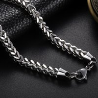 titanium stainless steel chain Canada - Punk Rock Metal Long Chains Link Necklace For Men Stainless Steel 5MM Wide 18-30 Inch Vintage titanium 2017 Statement Jewelry CHN001