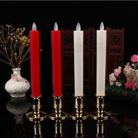 bewegte dochtkerze großhandel-2 teile / los Moving Wick Flammenlose LED Kerzenhalter Lange Kegel Kerze Tanzen Flamme mit Fernbedienung für Weihnachten Hochzeit Decor Lichter