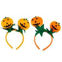милые оранжевые повязки оптовых-2шт симпатичные тыква оголовье Hairband обруч волос головной убор Хэллоуин костюм аксессуары (оранжевый и красный оранжевый)
