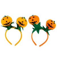 niedliche orange stirnbänder großhandel-2 stücke Niedlichen Kürbis Stirnband Haarband Haarband Kopfschmuck Halloween Party Kostüm Zubehör (Orange und Rot Orange)