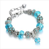 Wholesale glass charm beads - 925 Sterling Silver Bead Charm Lake Blue Murano Glass Beads Crystal Fit European Pandora Charms Bracelets Safety Chain Jewelry DIY 18cm +3cm