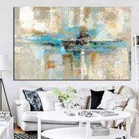 kahverengi tuval resmi toptan satış-Mavi Kahverengi Modern Soyut yağlıboya Posteri Baskı Duvar Sanatı Tuval Yatak Odası Duvar Sanat Oturma Odası için Resim Cuadros Ev Dekor