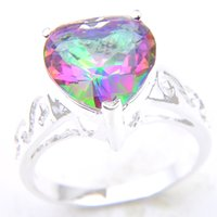Wholesale sizing mystic topaz ring - Time-limited Rushed Bohemian Rings 2pcs lot Bulk Price Christmas Gift 925 Sterling Silver Heart Rainbow Mystic Topaz Gems Ring R0176