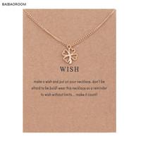 Wholesale wish bone - Golden Plated Clover Wish Love Alloy Clavicular Bones Pendant Short Chocker Necklace