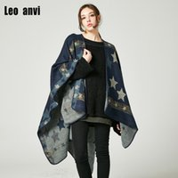 estola al por mayor-Leo anvi Invierno robó bufanda echarpe hiver femme abrigo desgaste Impresión estrellas envolver poncho capa decoración bufandas de punto para mujeres