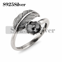 Wholesale jewelry made feathers - 5 Pieces Vintage Design Feather Ring Findings 925 Sterling Silver DIY Jewelry Making Ring Blank Base