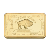 Wholesale wholesale bullion - WR One Bullion 1 Troy Ounce Gold Bar 24k 999.9 Gold Plated Fake Bars Pure Plated Metal Bars Value Collection