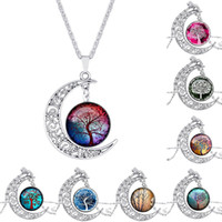 Wholesale Moon Necklace Colors - Tree of life Necklace Glass 8 Colors Hollow Carved Moon Shaped Cabochons Moonstone Charm Chokers Pendant Necklace Trendy Jewelry