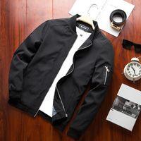 frühlingsjacke bomber herren großhandel-2018 neue Ankunft Frühling Herbst Männer Business Jacken feste Mode Mantel Mens Casual Slim Stehkragen Marke Männer Bomber Jacke