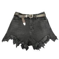 trapos ropa al por mayor-2018 nueva cintura alta mujer ropa dama moda mujeres cortas pantalones cortos de mezclilla de borde harapiento